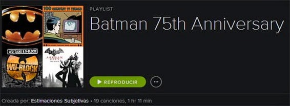 Batman 75th Annyversary playlist