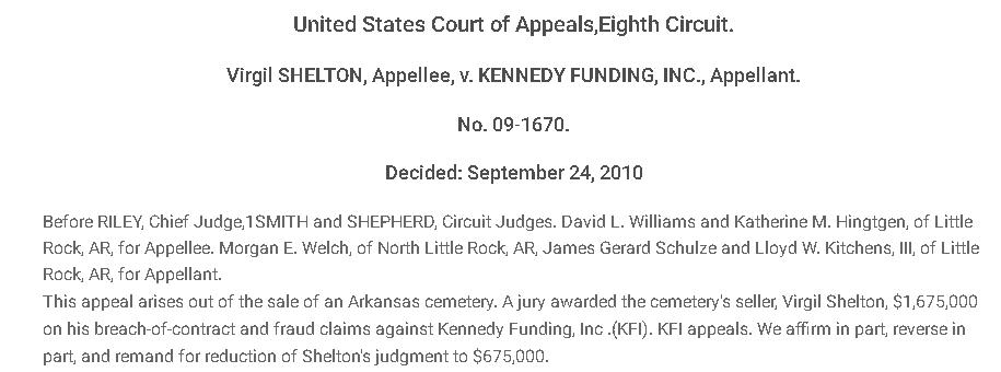 Kennedy Funding Financial lawsuit