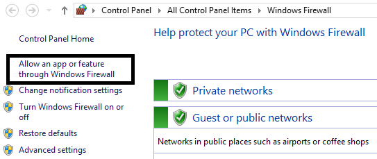 Check if the Roblox is not allowed in the Windows Firewall