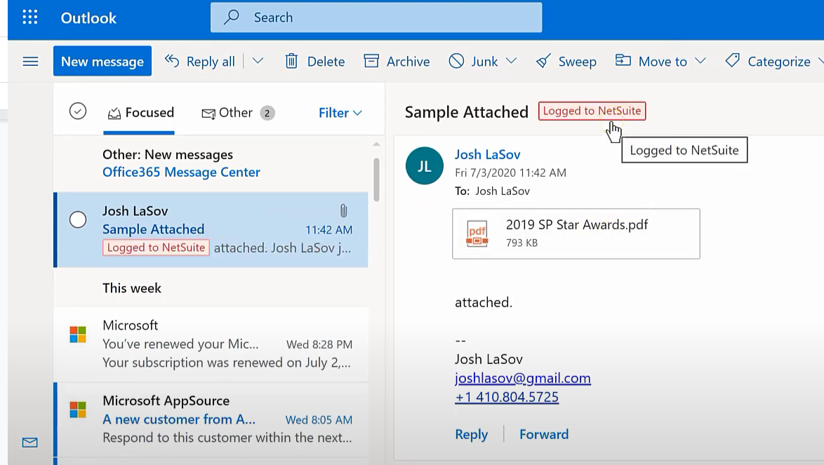 """Red """"Logged to NetSuite"""" box pops up in the email inbox and at the top of each email that has been recorded to NetSuite."""