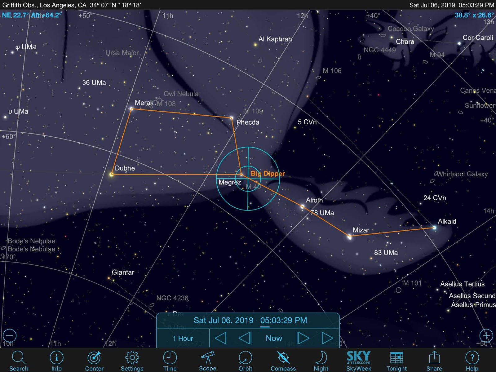 Sky Safari Pro predicted orientation of the Big Dipper as seen in the northern hemisphere (Source: Palmia Observatory)