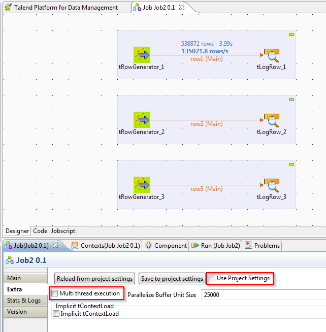 select the multi thread execution check box to enable the parallel execution