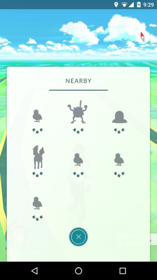 Pokemon Nearby menu