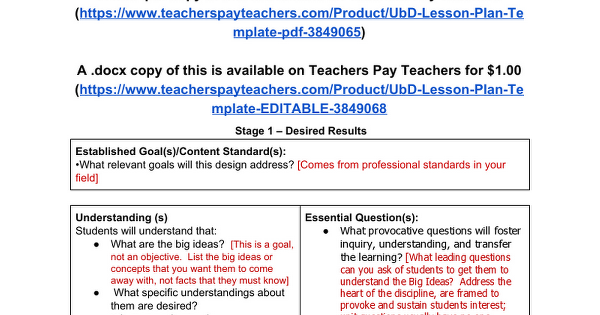 Editable Ubd Lesson Plan Template Google Docs
