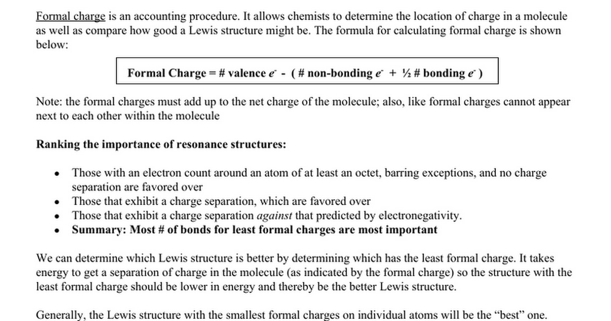 AP Chemistry Formal Charge and Resonance Worksheet Google Docs – Lewis Structure Worksheet with Answers