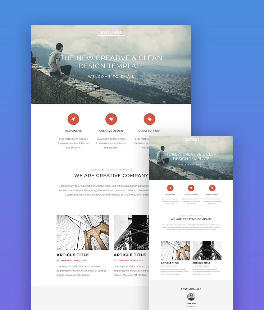 Sentinel Responsive Mailchimp Template Designs