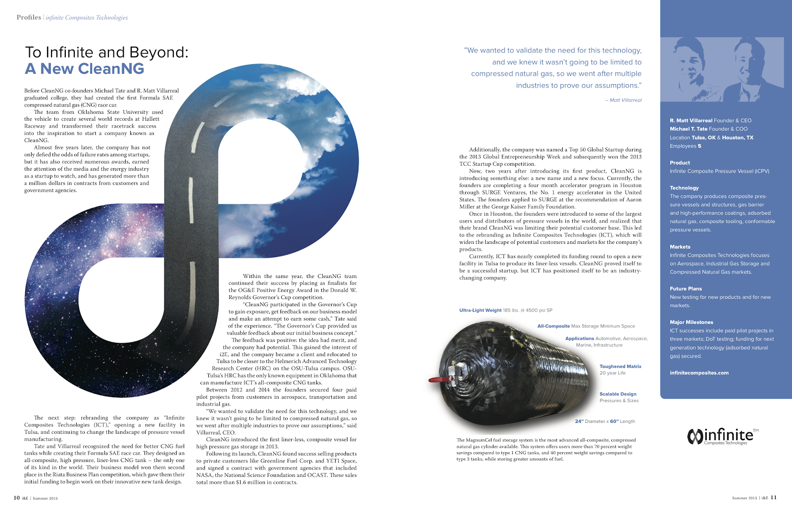A image of the article posted in Innovators and Entrepreneurs Magazine discussing the name change from CleanNG to Infinite Coposites Technologies