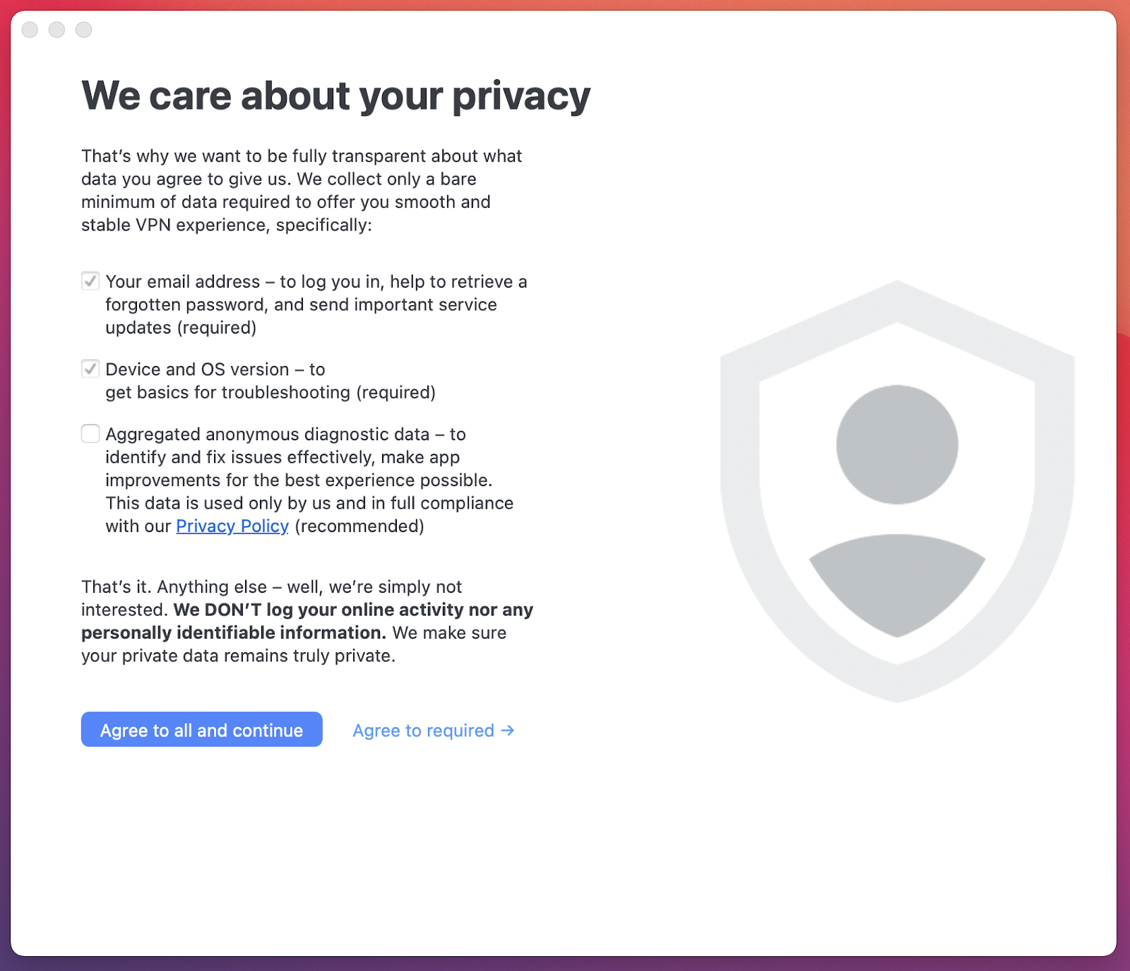 NordVPN privacy policy agreement