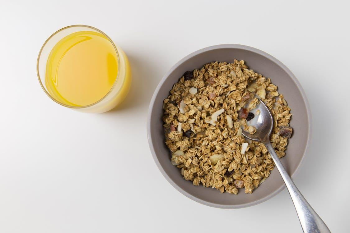 Oats and Nuts in Gray Bowl