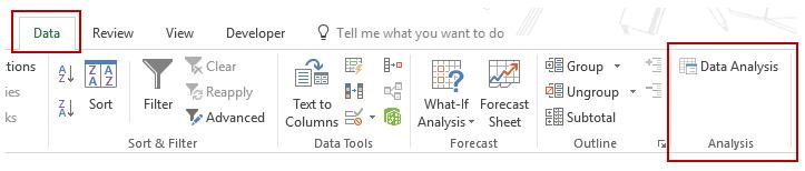 Histogram in Excel - Data Analysis Tab