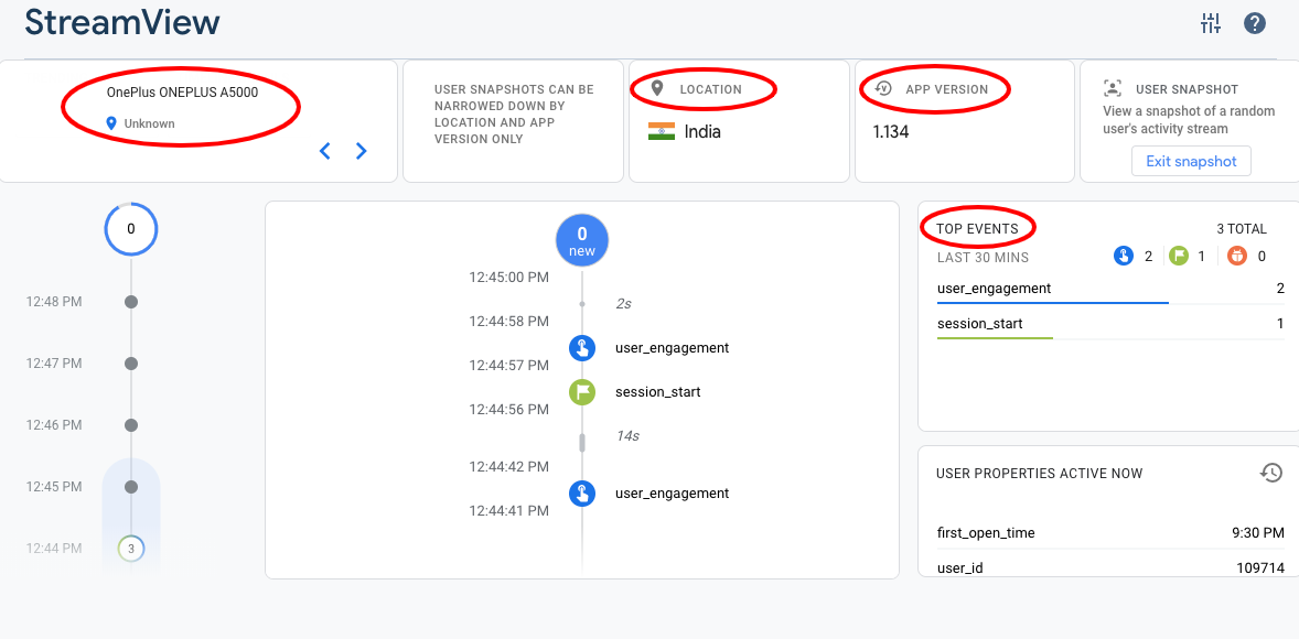 This image shows the snapshot of a live user in Firebase Streamview
