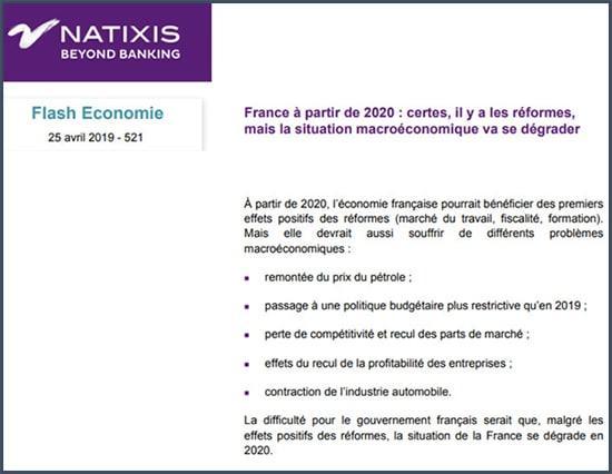 Natixis France à partir de 2020 : la situation macroéconomique va se dégrader