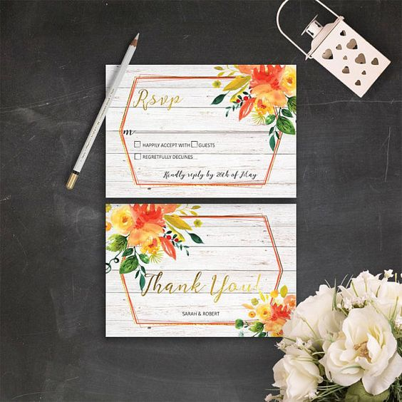 Gold Orange Wedding Invitations Summer Wedding Invite Rustic White Wood Wedding Invitation Printable