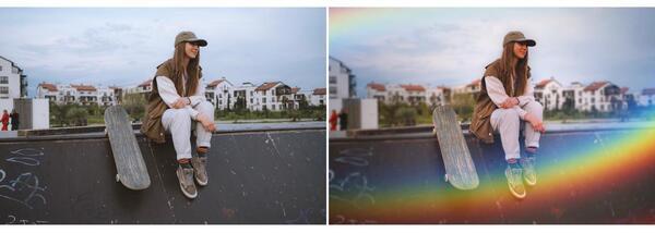 foto de antes e depois de uma menina skatista sentada na rampa com skate do lado