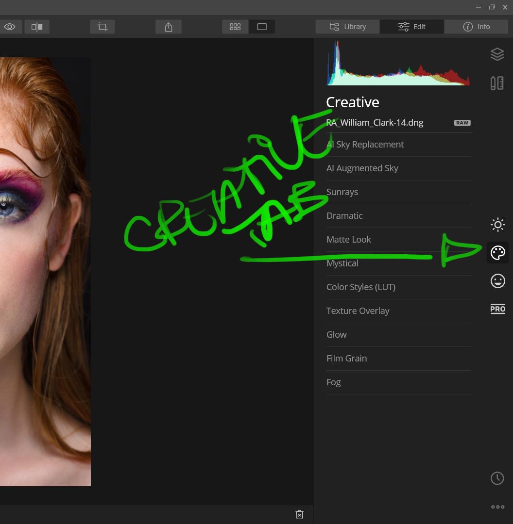 Creative tab Luminar