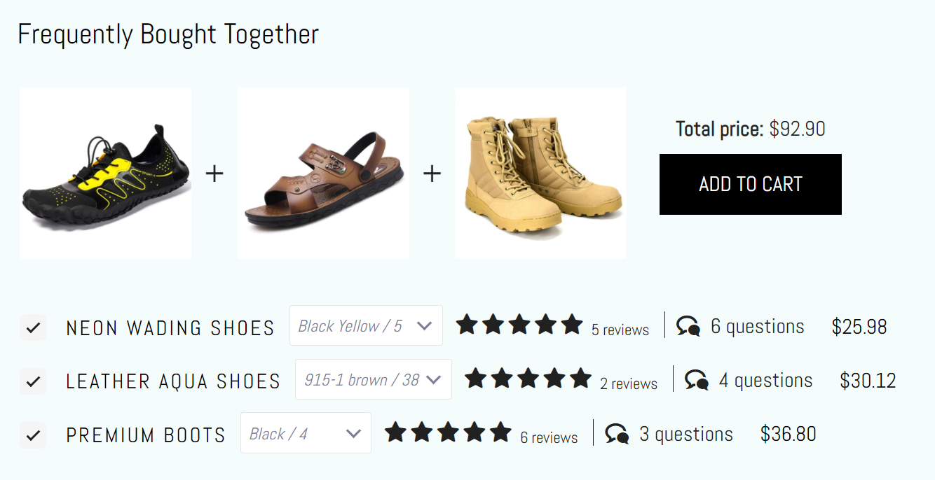 Customer reviews for 3 suggested shoe purchases using the Judge.me Product Reviews Shopify app