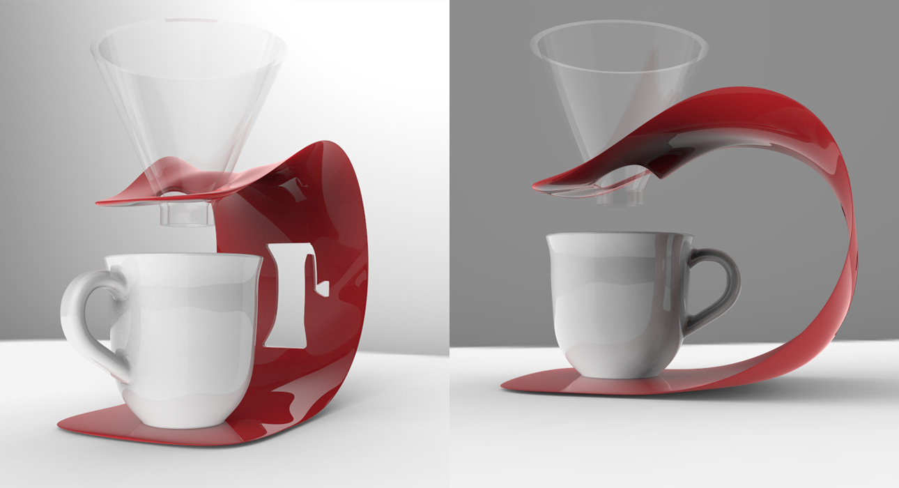Red 3D Printed pour over coffee stand