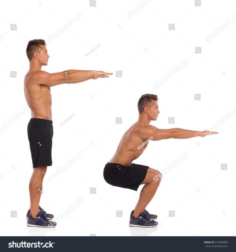 Muscular half naked man showing a squat exercise, side view, step by step.  Full length studio shot isolated on white.