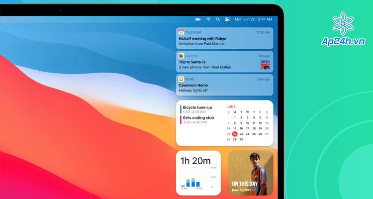 Tiện ích trên macOS 11 Big Surcũng tương tự như trên iPhone hay iPad