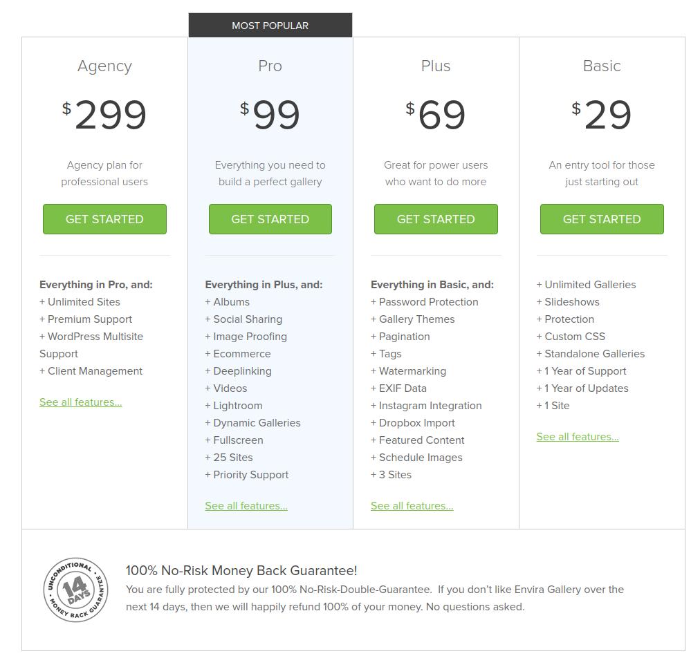 envira gallery wordpress gallery plugin pricing