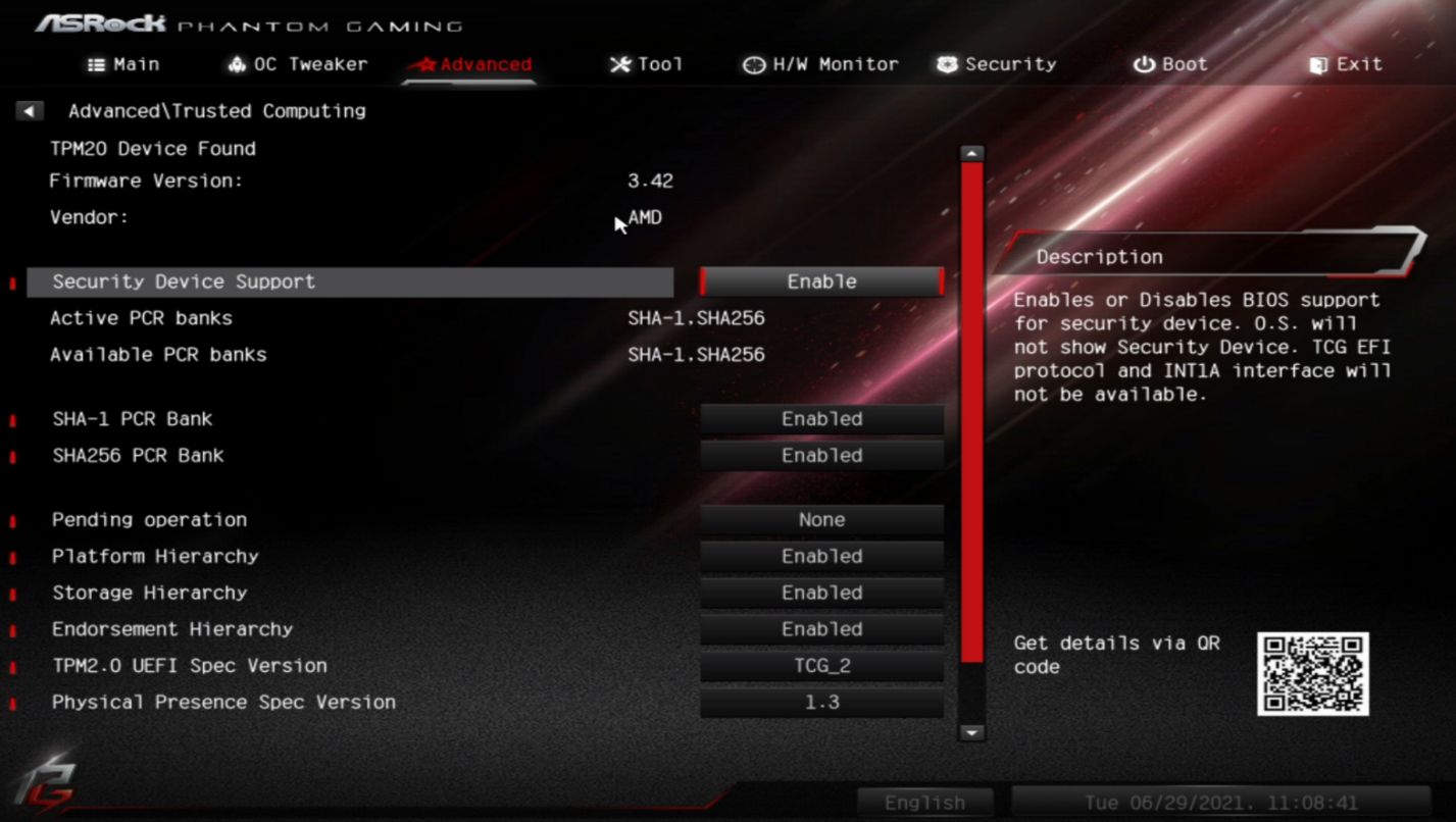 How to enable TPM on ASRock Motherboard AMD CPU