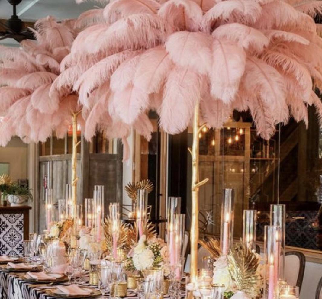 ostrich feather wedding table centerpiece