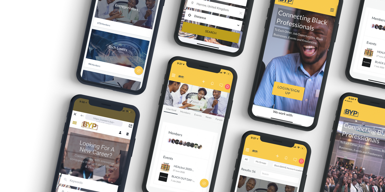 The BYP Network app connects Black professionals, entrepreneurs, freelancers, allies, and corporations, and features community news and job opportunities.