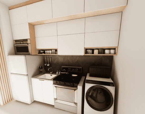 Kitchen set up in studio unit, cooking stove, white minimalist wooden accent countertop, AllHome Cabinets