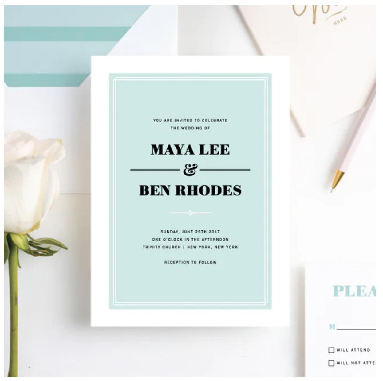 chic modern wedding invitation
