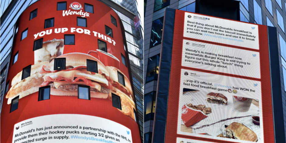 A digital Wendy's billboard in Times Square with tweets taking jabs at competitor McDonald's.