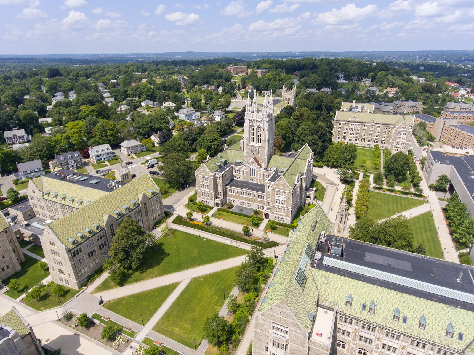 what colleges give full ride scholarships:  aerial view of Boston College Gasson Hall