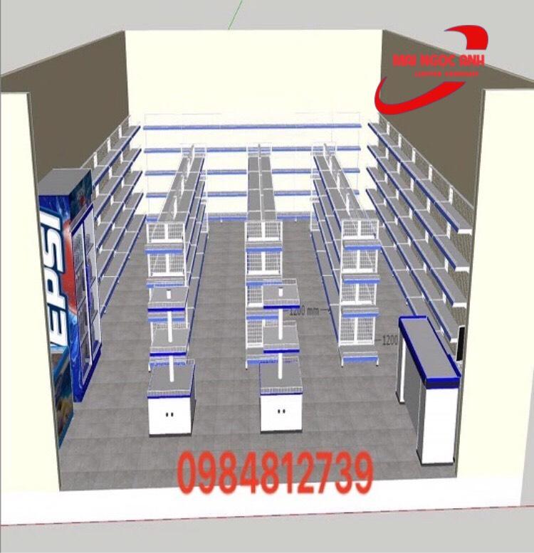 Mô hình sắp xếp kệ để hàng siêu thị