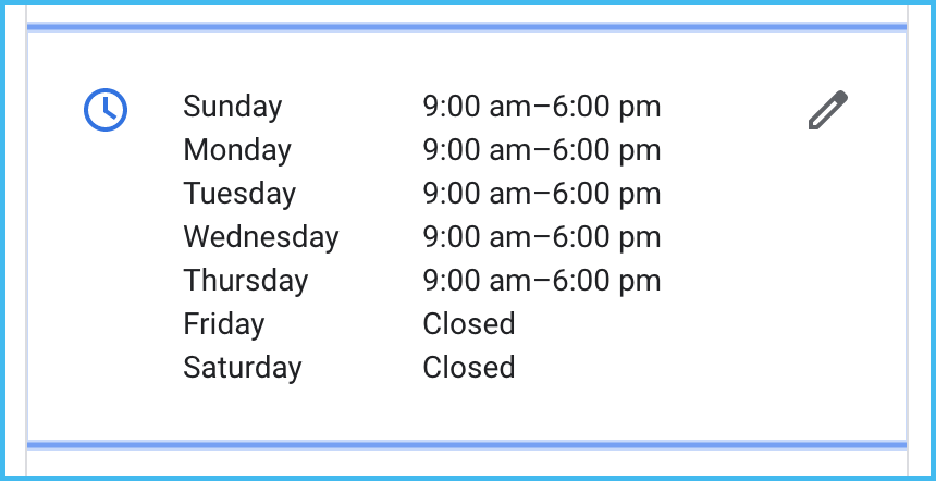 gmb business hours info