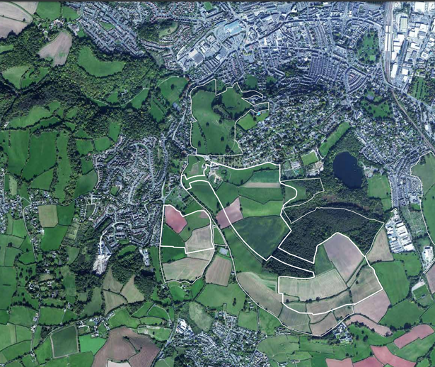 Aerial view of the Wolborough Barton site