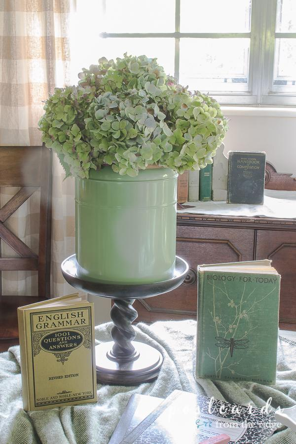 dried hydrangeas and vintage school books