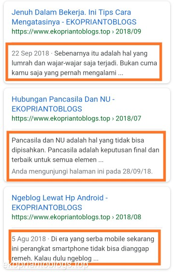 Contoh description artikel pada search engine