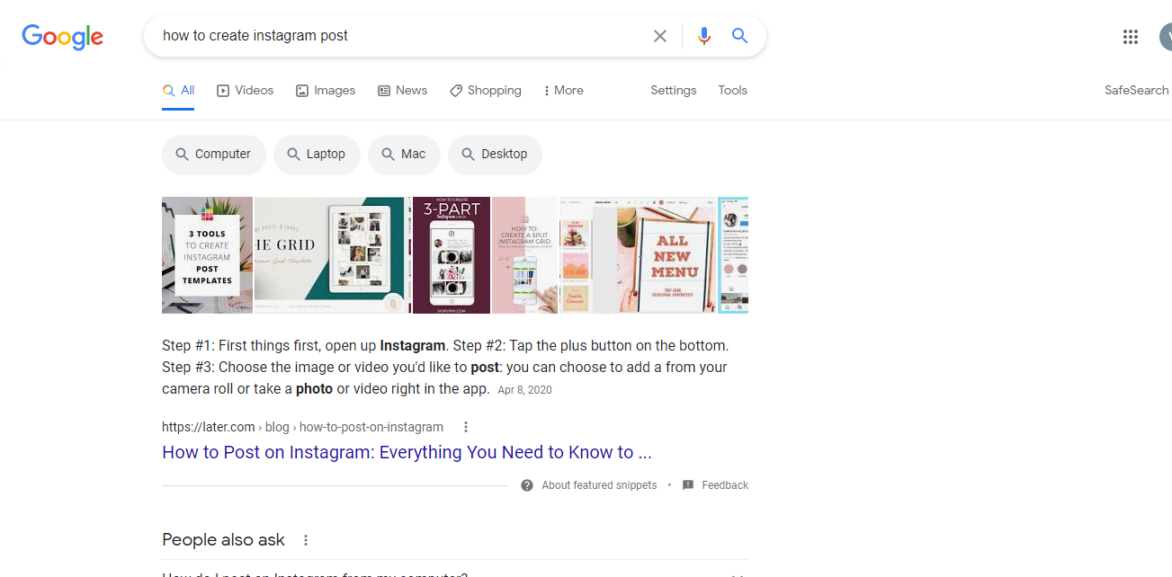 featured snippet for how to create an Instagram post