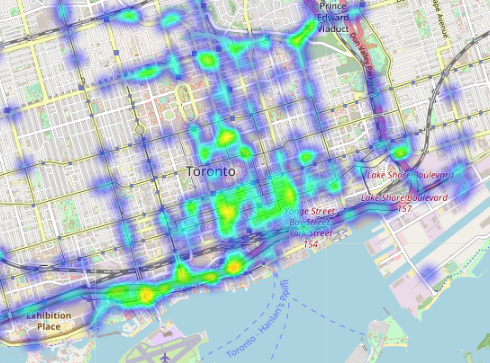 hazardous driving hotspots toronto from data.geotab.com