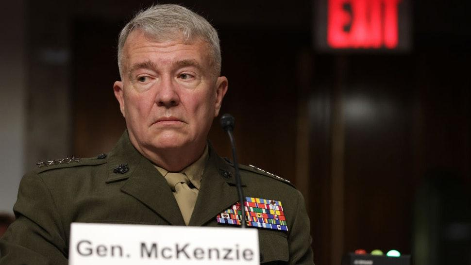 """Commander of U.S. Central Command Gen. Kenneth McKenzie testifies during a hearing before Senate Armed Services Committee at Dirksen Senate Office Building September 28, 2021 on Capitol Hill in Washington, DC. The committee held the hearing """"to receive testimony on the conclusion of military operations in Afghanistan and plans for future counterterrorism operations."""" (Photo by Alex Wong/Getty Images)"""