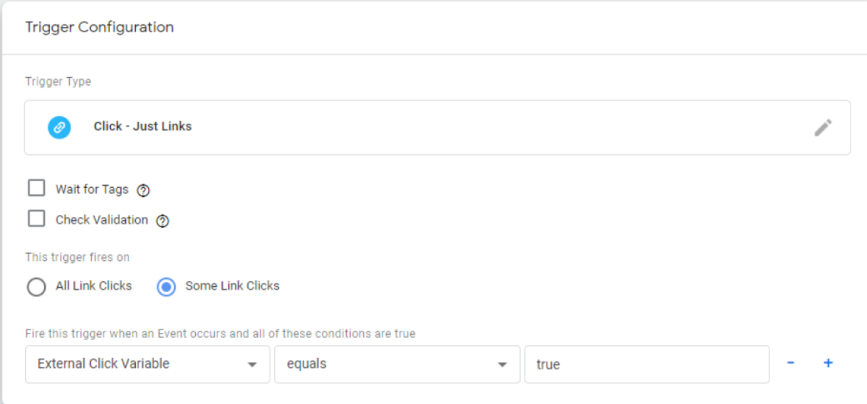 Triggering for external link clicks