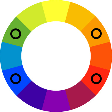 Color wheel with black spots on green, blue, orange, and red