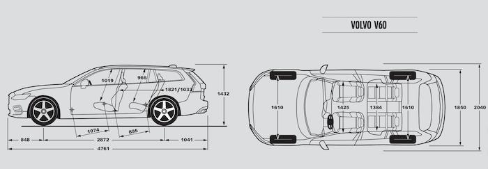มิติตัวรถของ Volvo V60 2020