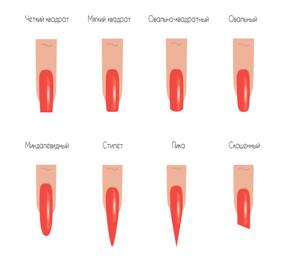 Схема форм ногтей фото