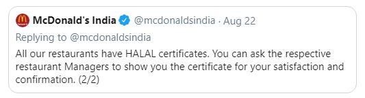 Tweet by McDonald On Halal Meat