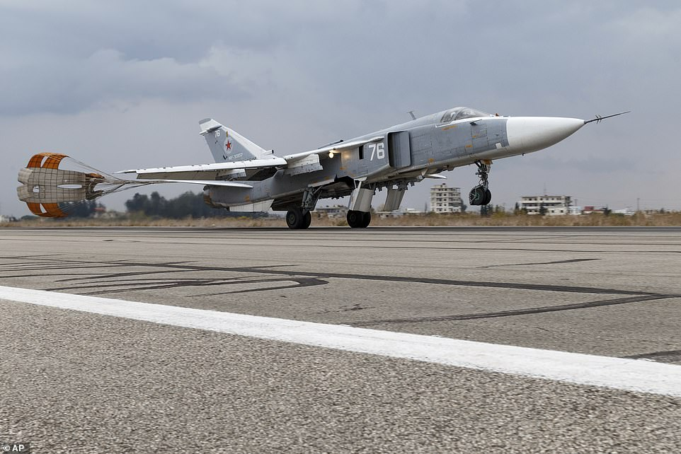 Russia claimed an Su-24 (pictured) dropped four bombs in the path of the vessel in the Black Sea
