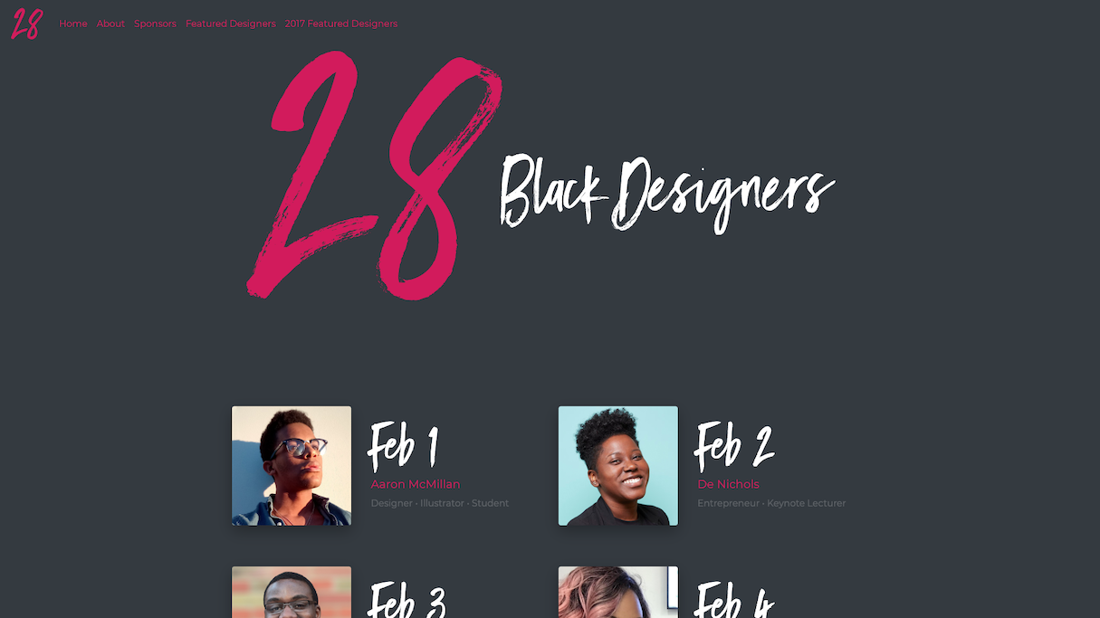 Homepage screenshot of 28blacks.com, featuring designers from the African-American/Black community.