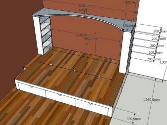 Пример чертежа кровати-подиума со всеми необходимыми размерами и дополнительными деталями
