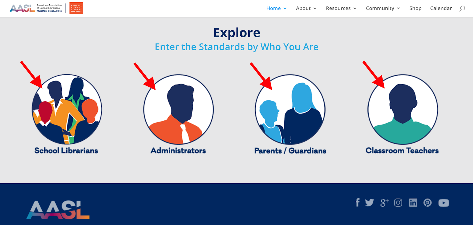 AASL Explore: Enter the standards by who you are.