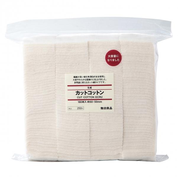 Bông tẩy trang Muji Cut Cotton Ecru Nhật 180 miếng