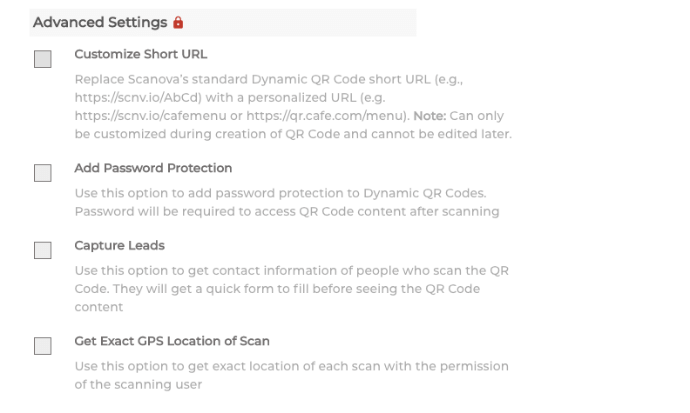 Advance QR Code settings